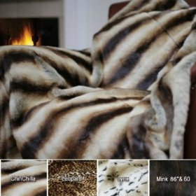 Safari Chinchilla Faux Fur Thermal Throw Blanket